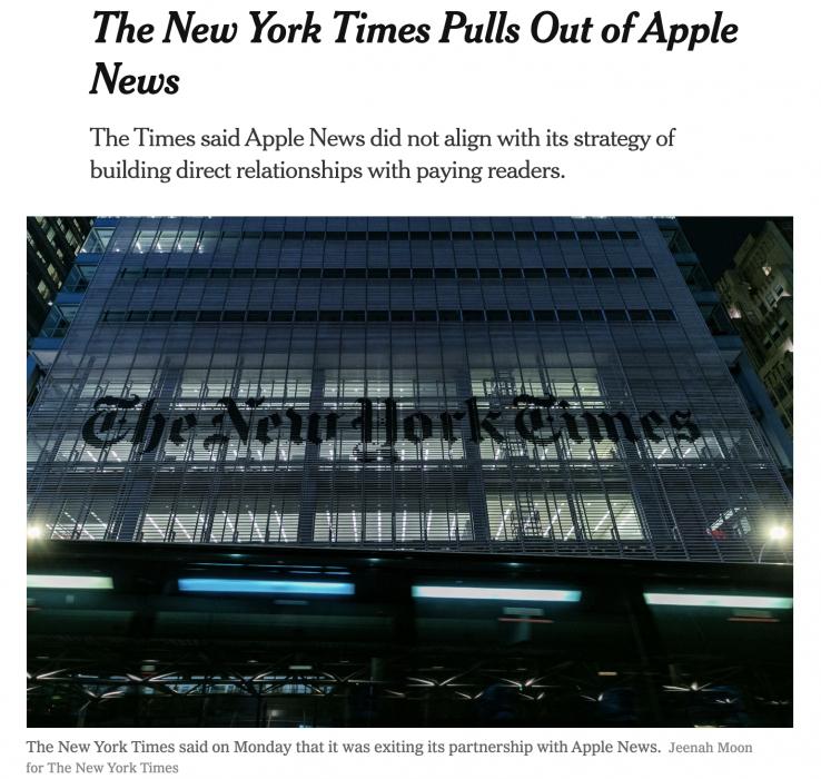 NYT steigt bei Apple News aus