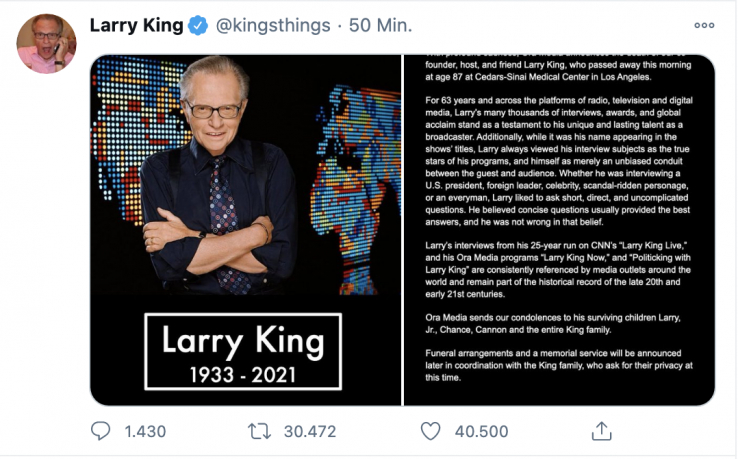 In Memoriam Larry King